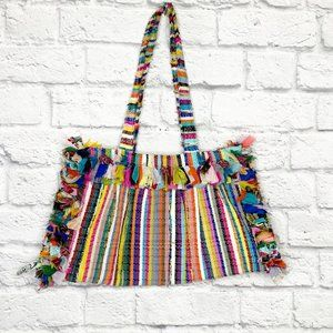 Boho Woven Colorful Stripes Rag Bag Made in India